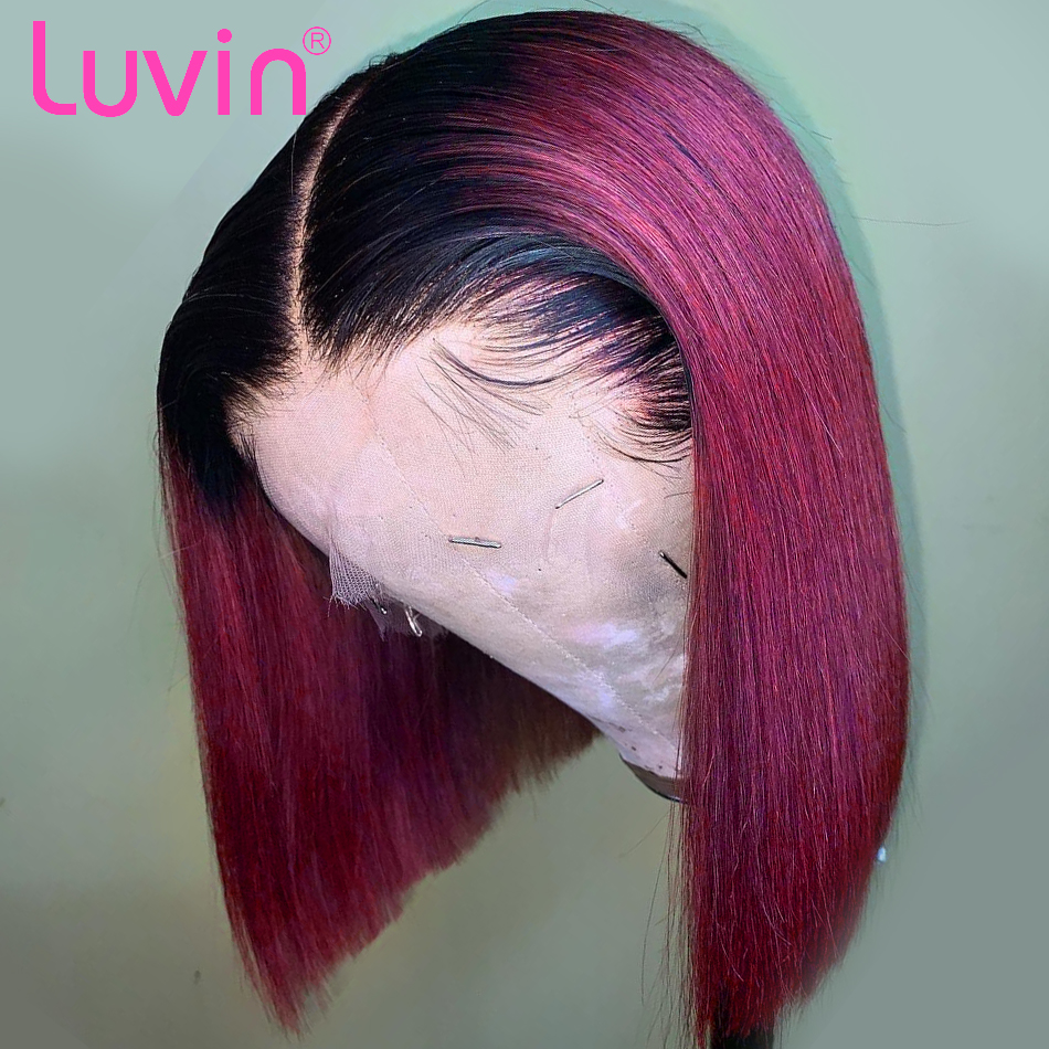 <font><b>Luvin</b></font> Bob Lace Front Human <font><b>Hair</b></font> Wigs Straight Short Bob Wig For Black Women Pink Green Ombre 613 Blonde Red T1B/Burgundy image