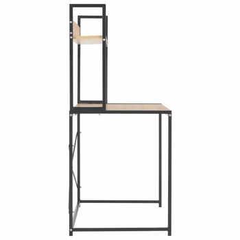 Simple Computer Desk Metal Frame Chipboard Modern Desk With Shelves Home Office Desk Table Black and Oak Writing Desktop
