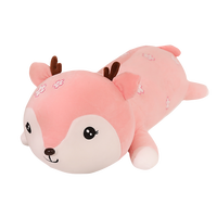 ultra soft pink blue and green cute adorable deer plush toys cuddly deer throw pillow with flower shaped spots on body and face