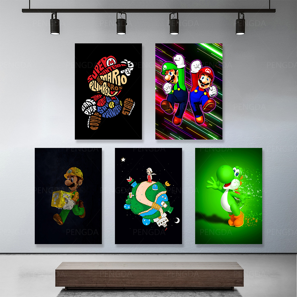 Printed Painting Pictures Art-Poster Modular Wall Living-Room Mario Canvas Home-Decor