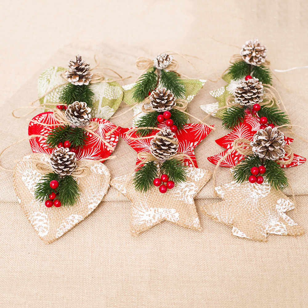 2019 Christmas stars trees Home Decoration Gifts Mini Fabric Pendant Christmas Tree Ornament Party Hanging Decoration