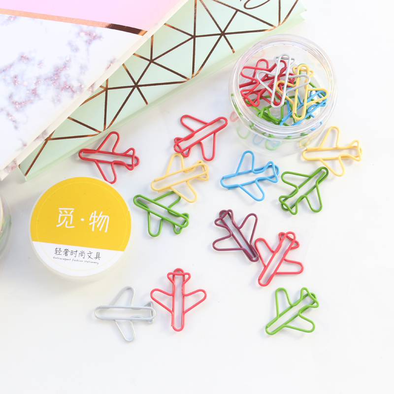 20pcs Domikee Classic Colorful Aircraft Shape Office School Metal Paper Clips Organizer Set Fine Student Bookmarks Stationery