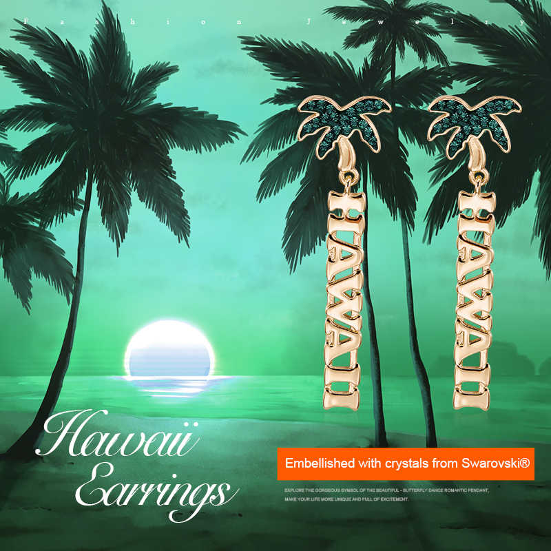 Cdyle Monili della Lettera di Estate Tropicale Hawall Palma Orecchini con perno Impreziosito con Lucido Cristallo Verde
