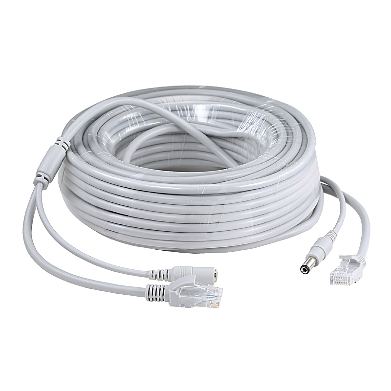 5M/10M/20M/30M Ethernet CCTV Cable RJ45 + DC Power Connector RJ45 Cable Cat5 Network LAN Cord For IP Cameras NVR System