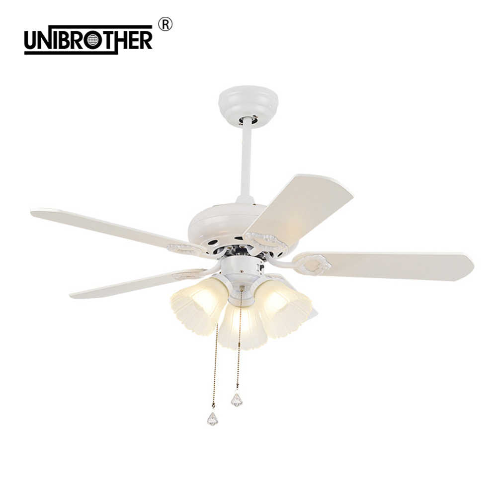 White Ceiling Fan Lamp Lights Remote