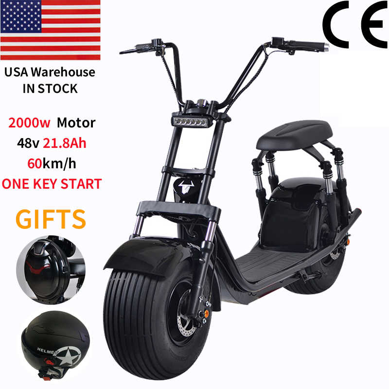 US warehouse 2000w 60V  21.8Ah Powerful Electric Scooter Citycoco with Removable Lithium Battery