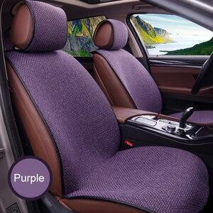 Image 3 - 2 pcs רכב מושב כיסוי כחול גלימת פשתן/2 קדמי או 1 מושב אחורי כרית כרית Fit ביותר רכב, משאית, Suv, להגן על רכב פנים