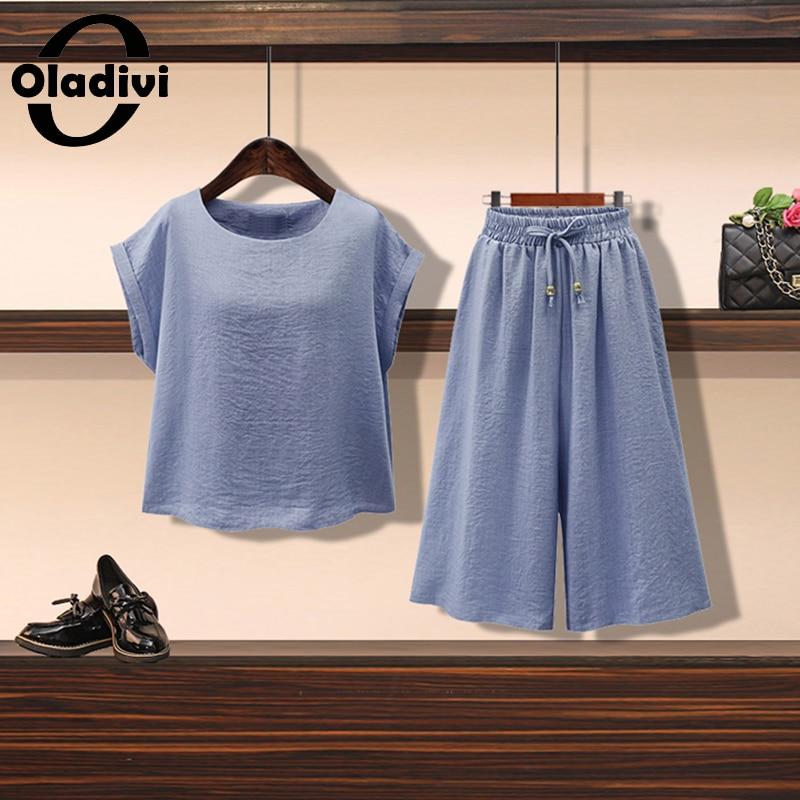 Oladivi Plus Size Two Piece Set Short Sleeve Shirt + Pants Women Summer Korean Tracksuit Casual Top Elast Waist Capris Suits 5XL