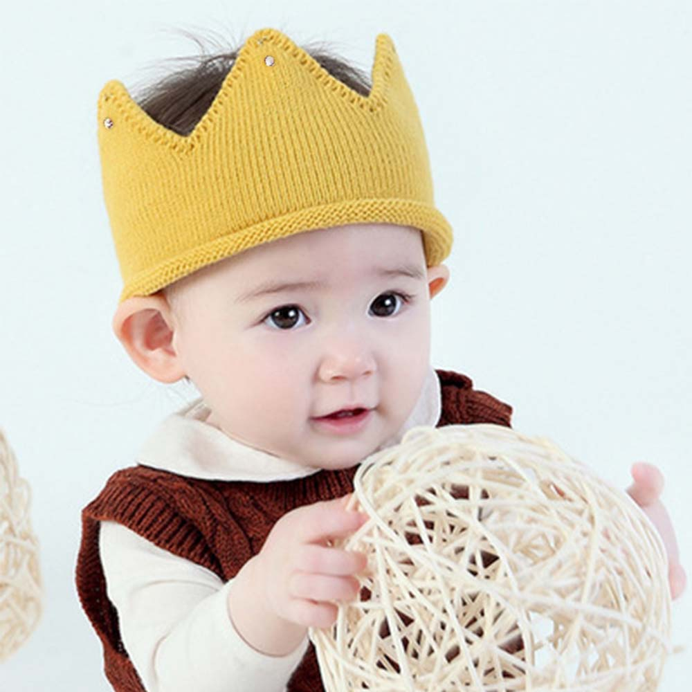 Cute Baby Headband Photography Props Autumn Winter Knit Newborn Baby Hat Lovely Crown Turban For Infant Toddler Kids
