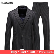 Mens Wedding Suit Classic Gentleman Simple Dark Gray Striped Set Three-piece Banquet Party Dress