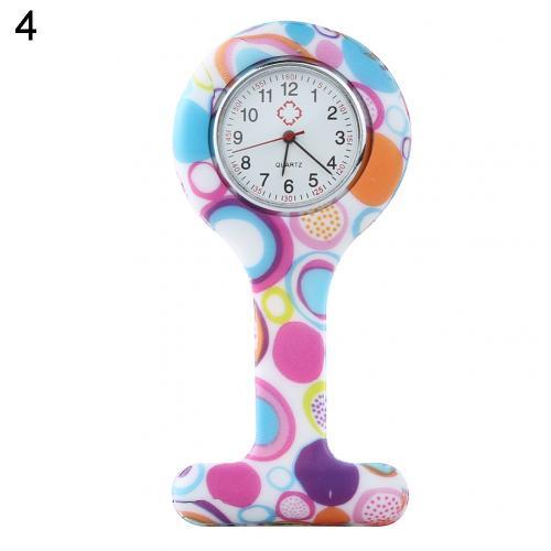 Портативный Зебра арабские печатные цифры Круглый циферблат силикон Медсестра часы Брошь Туника кармашек для часов Часы - Цвет: 4