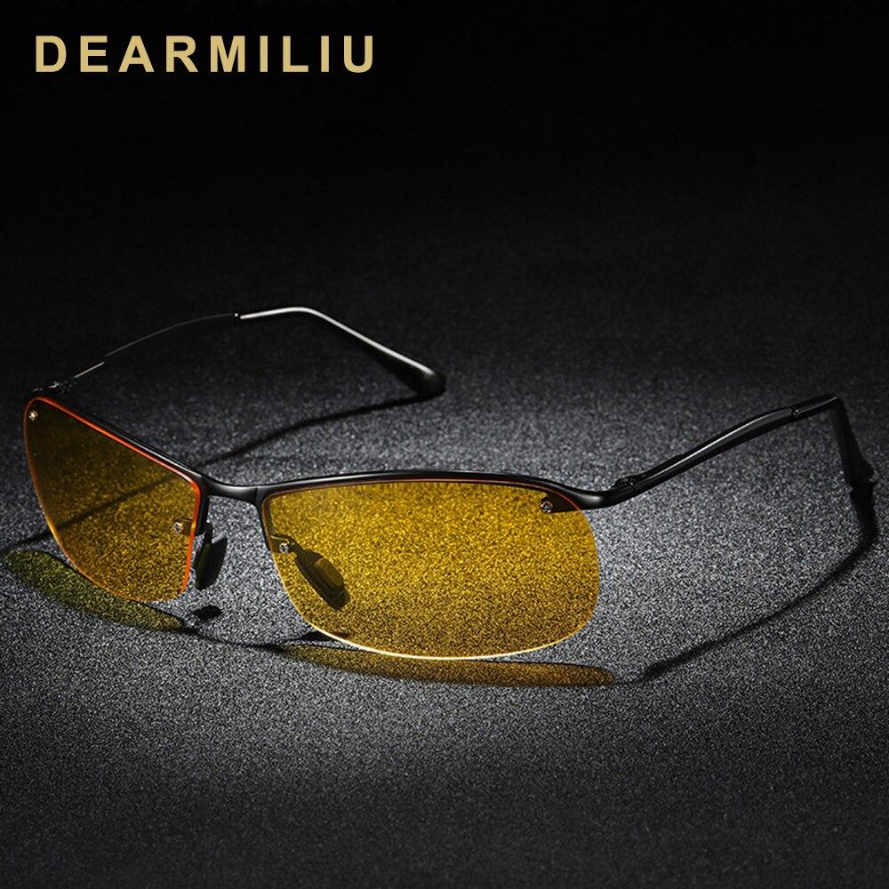 DEARMILIU Unisex Semi-Rimless Polarized Sunglasses Men's Sunglasses Polarized Glasses Photochromic Mirror Night Vision Glasses