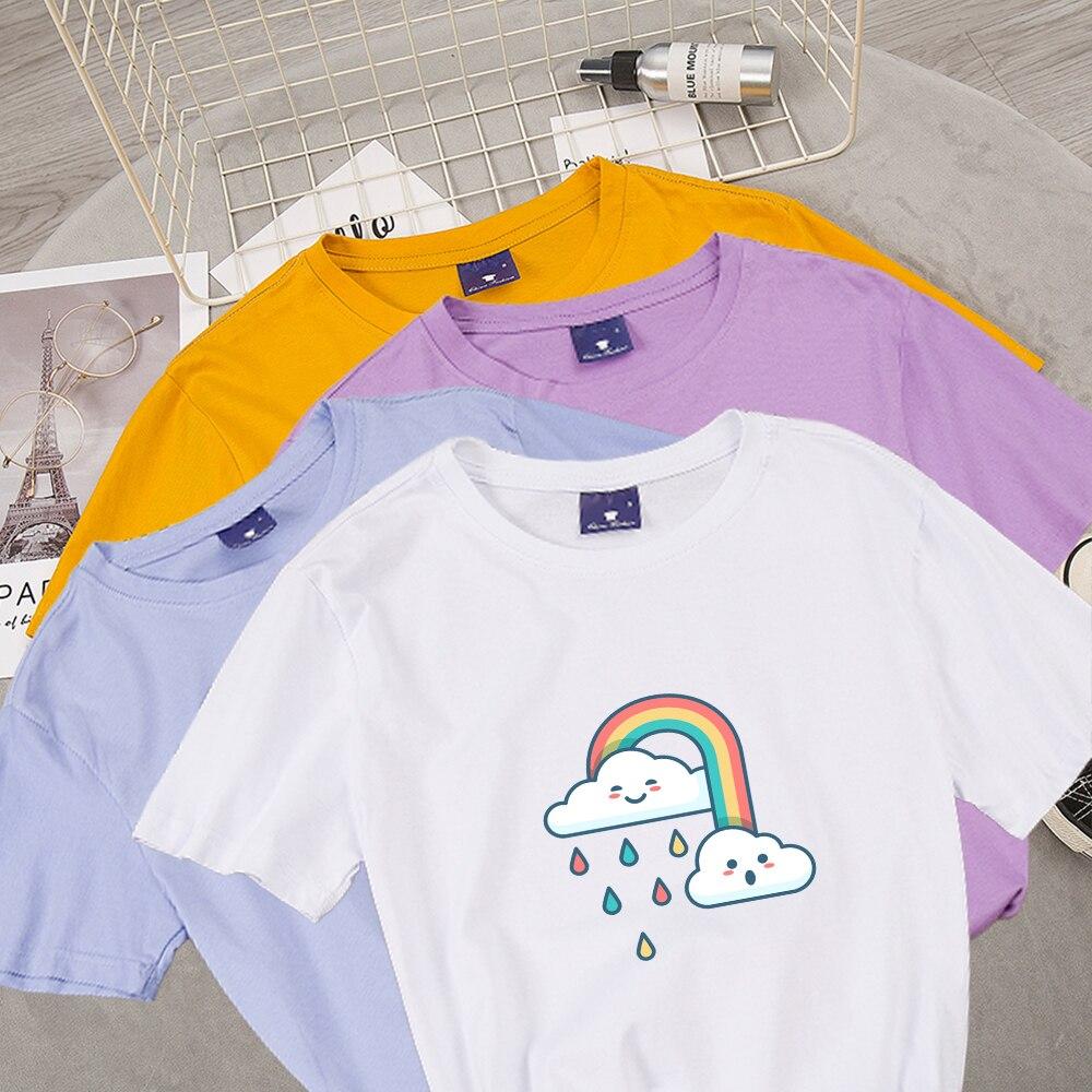 Women Colorful Graphic T Shirt Clouds Rainbow Rain Cartoon Cute Tee Ladies Tops Seet Elegant T-shirt Female Blouses T-shirt Tees(China)