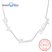 JewelOra Customized 925 Sterling Silver 3 Names Necklaces for Women Personalized Letter Nameplate S925 Fine Jewelry Custom Gifts