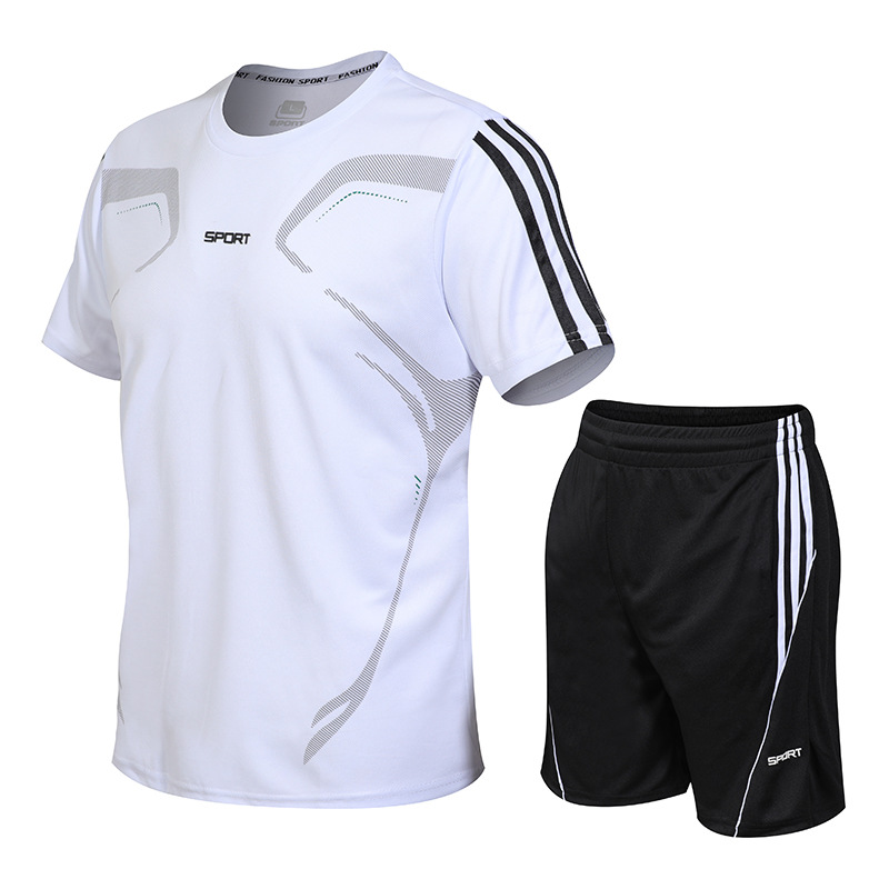 Large Size Sports Suit Men's Brand Fitness Clothes Summer 2PC Shirt Short Men's Stand Collar Fashion 2 T-shirt Shorts Sportswear