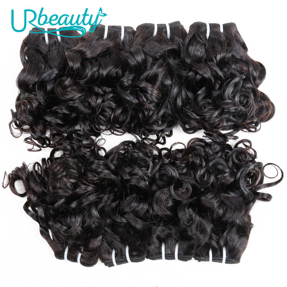 Paquetes de cabello humano brasileño con paquetes ondulados de cierre con parte media 100% cabello humano UR belleza Remy cabello naturaleza color