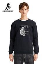 Pioneer Camp New Design Hoodies Men no Hood Winter Thick Streetewear O neck Causal 100% Cotton Sweatshirt Men AWY905025