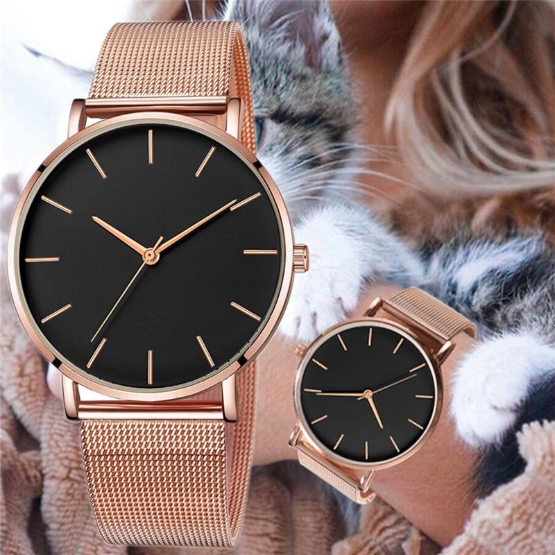 Fashion Casual Watch Womens Metal Hour Reloj Mujer Quartz Wristwatch Simple Montre Femme Mesh Black Stainless Steel Bracelet saa 5
