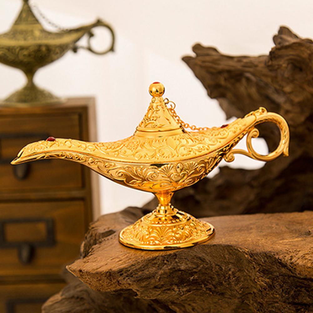 Vintage Imitation Aladdin Lamp Wishing Tea Pot Collectable Retro Creative Wishing Aladdin's Magic Lamp Home Decor Ornament