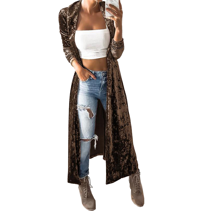 Autumn Coat Long Sleeve Cardigan Women Velvet Outwear Long Velvet Cardigan High Street Female Coat Pull Femme Open Stitch
