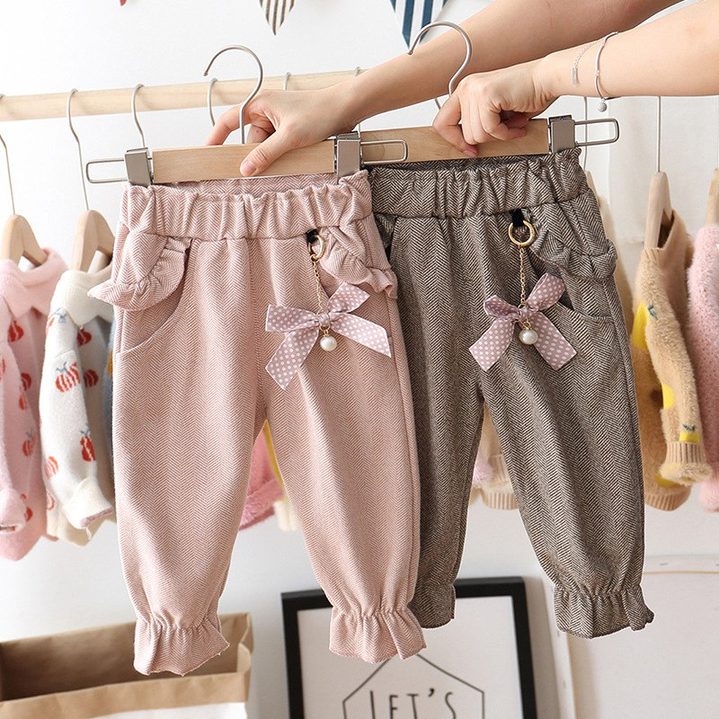 2019 Autumn Baby Girls Kids Pants Dot Polka Bow Ruffles Casual Trousers Infants Children Clothes Wear Princess Long Pant S9692