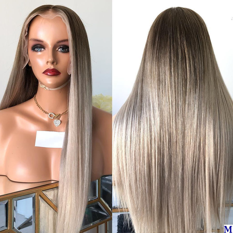 Ombre Dark Brown/Wheat Blonde Transparent Lace Front Wigs With Baby Hair 180Density Long Silky Straight Full Lace Human Hair Wig