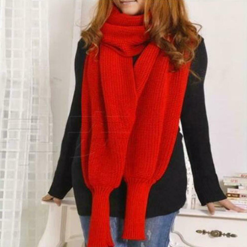 Unisex Fashion Knitted Scarf with Sleeves Long Wraps Shawls for Winter Autumn NYZ Shop