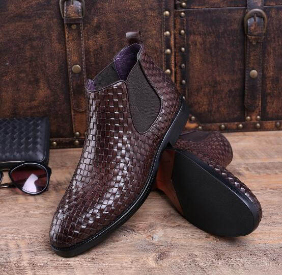 Autumn Winter Genuine Leather Low Heel Ankle Boots Fashion Slip-on  Dress Shoes  High Top Pointed Toe Oxford