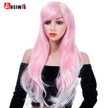 Aosi длинные волнистые волосы с челкой розовый белый Омбре косплей
