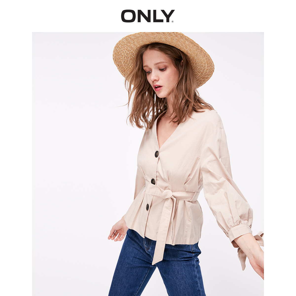 ONLY Women's Slim Fit V-neckline Lace-up Cinched Waist Long-sleeved Shirt | 119105508