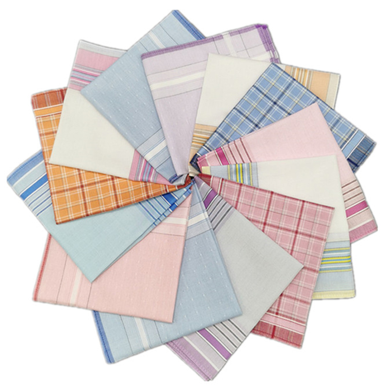 3Pcs Square Plaid Stripe Women Handkerchiefs Hanky Pocket Cotton Towel 28*28cm Random Fashion Sweat Female Handkerchiefs