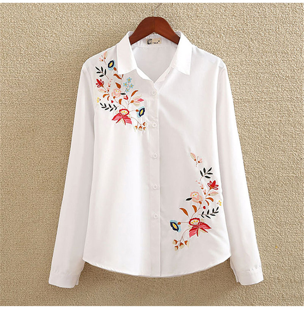 Floral Embroidery White Shirt Blouse  2020 Spring Casual TopTurn Down Collar Long Sleeve Cotton Women's Blouse Feminina 1518 (2)