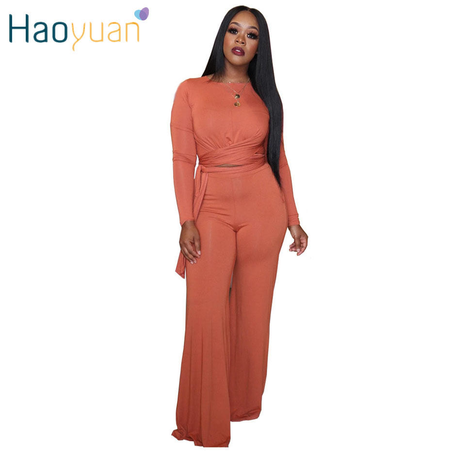 HAOYUAN Casual Two Piece Set Bandage Crop Top And Wide Leg Pants Long Sleeve Fall Tracksuit Women Clothing Outfits Matching Set