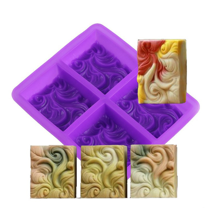 4 Grids 3D Wave Emboss Aromatherapy Silicone Soap Mold Rectangular Soap Molds For Soaps Making DIY Cake Decorating