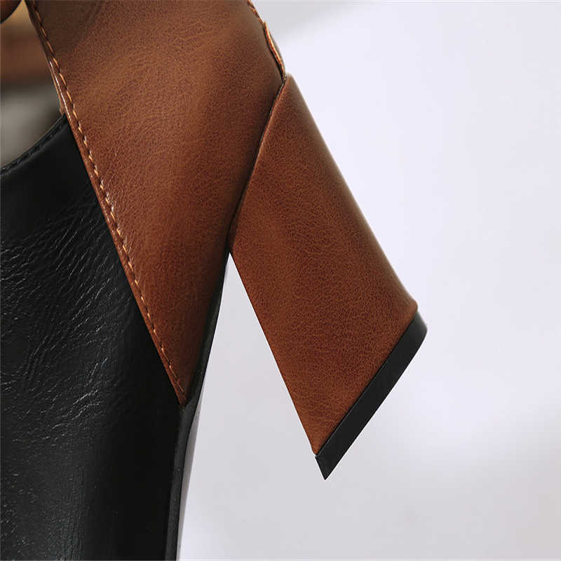Botas Mujer Moda Zip Bico fino Botas de Salto Do Hight Para Femme Inverno Bota Feminina Salto Alto de Couro À Prova D' Água Para Senhoras #5