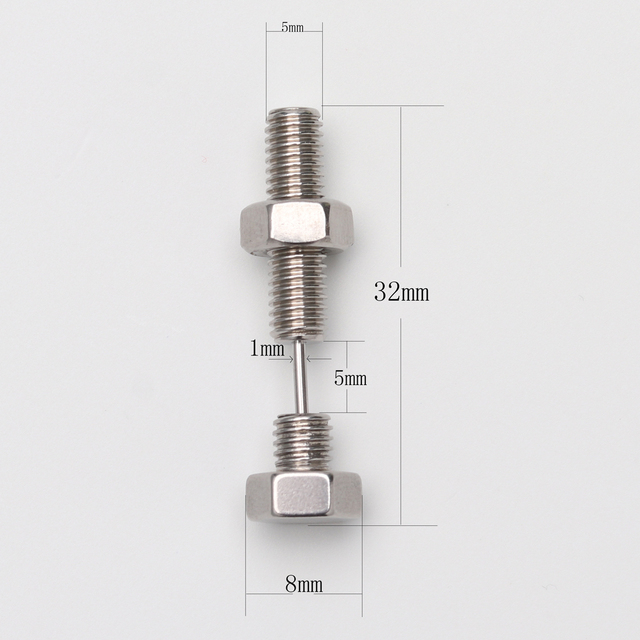 Punk Fashion Silver Black Color Stainless steel Nail Screw Piercing Stud Earring for Women Men Ear.jpg 640x640 - Punk Fashion Silver Black Color Stainless steel Nail Screw Piercing Stud Earring for Women & Men Ear Piercings Fashion Jewelry
