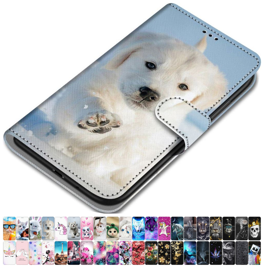 For <font><b>Case</b></font> <font><b>Samsung</b></font> Galaxy J6 Plus 2018 J530 J510 <font><b>J5</b></font> 2017 <font><b>2016</b></font> Leather Phone Cover Animal Floral Lovely Girl Boy Magnetic Capa O08F image