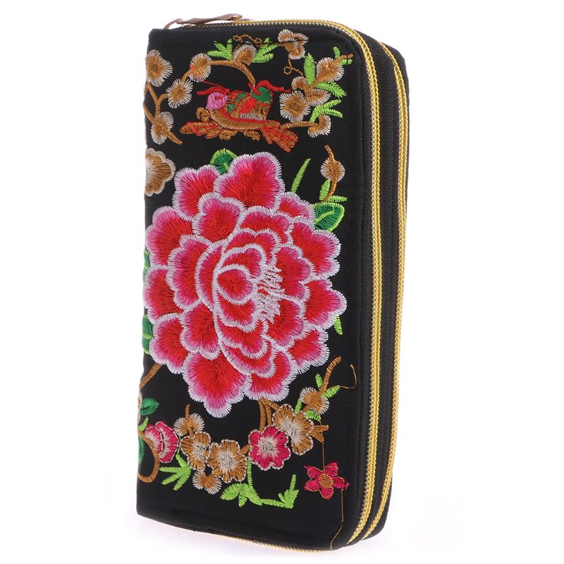 Designer Trend Embroidered Women Wallets Long Handmade Floral Canvas Coin Purse