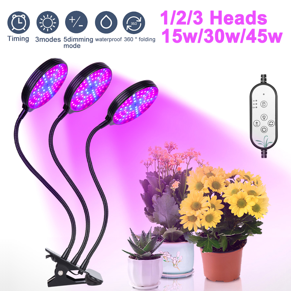 ChicSoleil 15W 30W 45W Full Spectrum LED Grow Light Waterproof Clip-on USB Powered Phyto Lamp Desktop Plant Growth LED Light