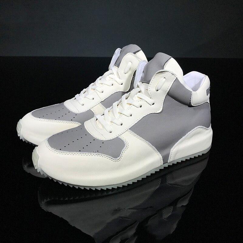 Повседневная мужская обувь с высоким берцем из высококачественной натуральной кожи; сезон осень зима; Мужские ботинки в британском ретро с... - 6
