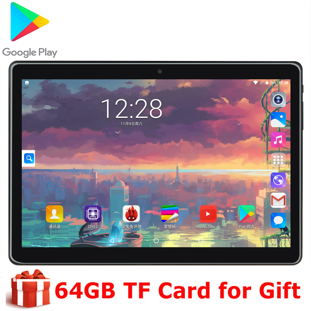 Children's Tablet 10 Inch Original Tablet Phone Phone Dual Camera Dual SIM Card Phone Android 9.0 OS Wifi GPS With Free Gift