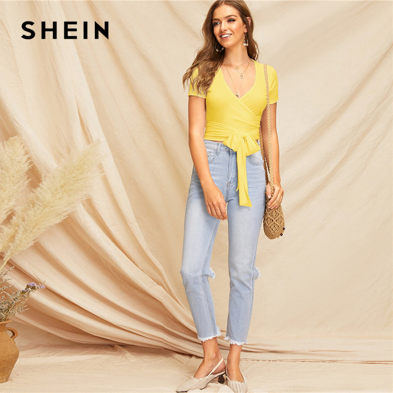 2019 Summer New Pattern Solid Color Deep V-Neck Pleated Short Sleeve Top Woman