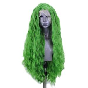 Image 3 - כריזמה עמוק גל פאת צד חלק תחרה סינתטית עמידות בחום סיבי שיער ירוק פאות עבור נשים טבעי קו שיער