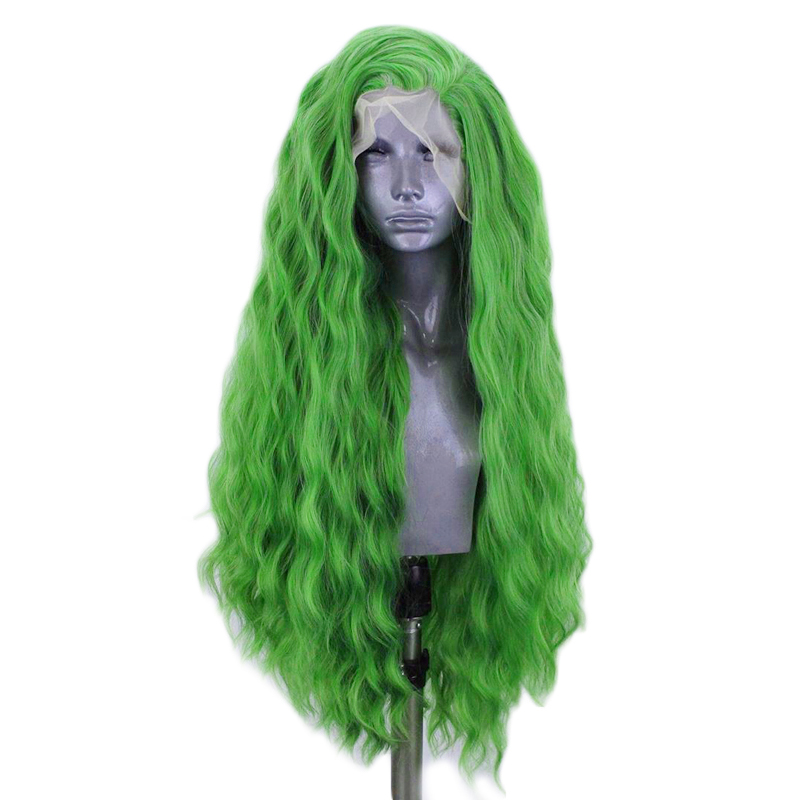Image 3 - Charisma Deep Wave Wig Side Part Synthetic Lace Front Wig Heat Resistant Fiber Hair Green Wigs for Women Natural Hairline-in Synthetic None-Lace  Wigs from Hair Extensions & Wigs