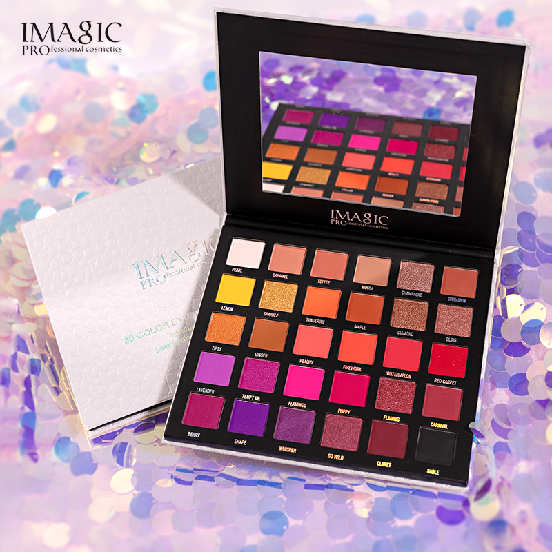 IMAGIC New 30-color Eyeshadow Palette Matte Makeup Nude Eyeshadow Glitter Pigment Soft Eyeshadow Palette Shadows