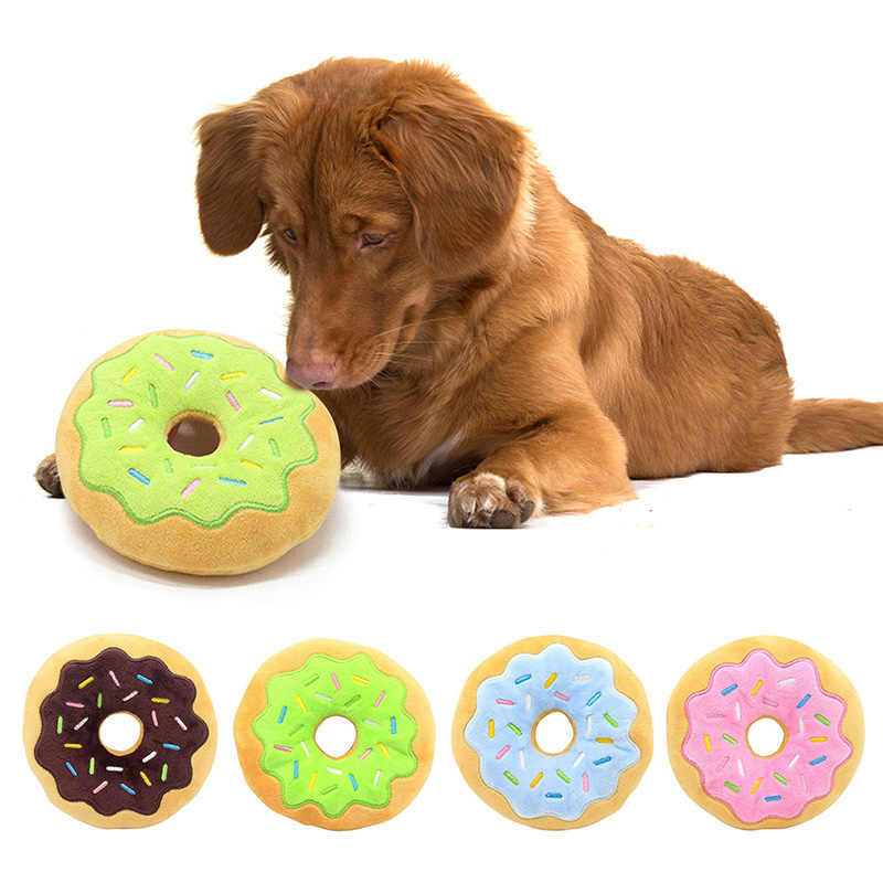 Pet Chew Plush Donut Play Toys Lovely Pet Dog Puppy Cat Tugging Chew Squeaker Quack Sound Toy Chew Donut Play Toys