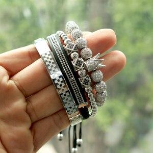 Image 2 - BORASI 4 pièces/ensemble Bracelet en or hommes couronne pavé CZ Zircon perles en acier inoxydable tressé tressage Bracelet bijoux de luxe livraison directe