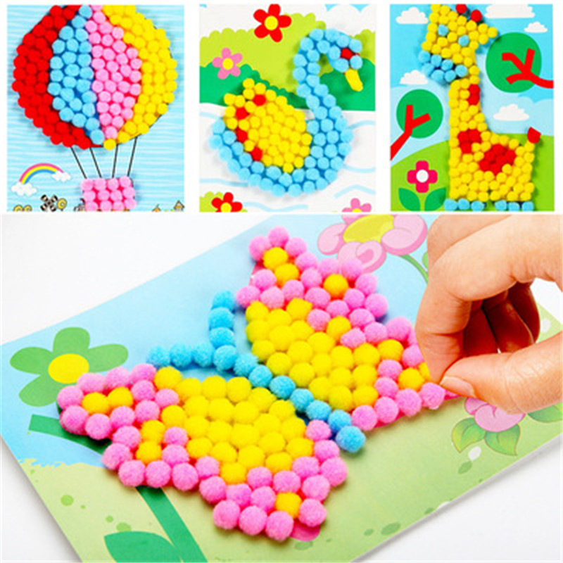 8 Patterns Child Toy DIY Hairball Handicrafts Girl Gifts Creative Painting Sticky Paper Painting Kindergarten Material Kids Craf