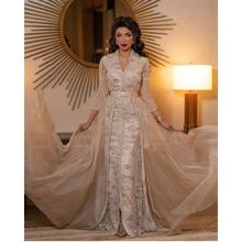 Роскошные мусульманские Вечерние платья с бисером и длинными