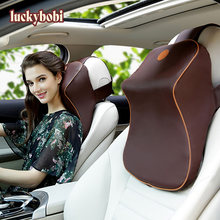 Car Pillow Memory Foam Leather Neck Pillow breathable Head Support Rest Seat Headrest Cushion Warm for Winter Car Accessories(China)